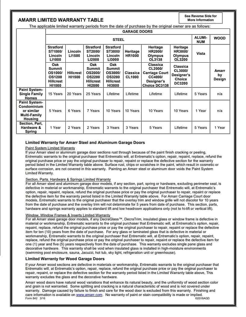 amarr product warranty page 2